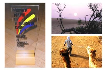 Trofeo y fotos del primer y segundo premio
