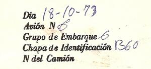 Carta de embarque de Andrés